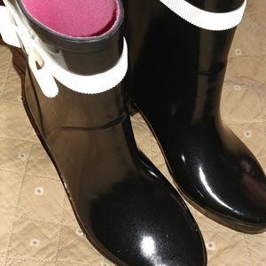 Never worn Kate Spade Paloma black rain boots 36